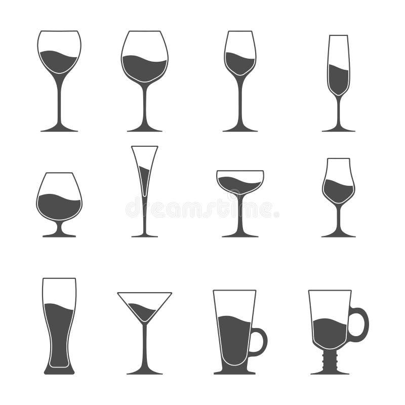 Insieme dell'icona di vettore dell'utensile Birra martini del vino royalty illustrazione gratis