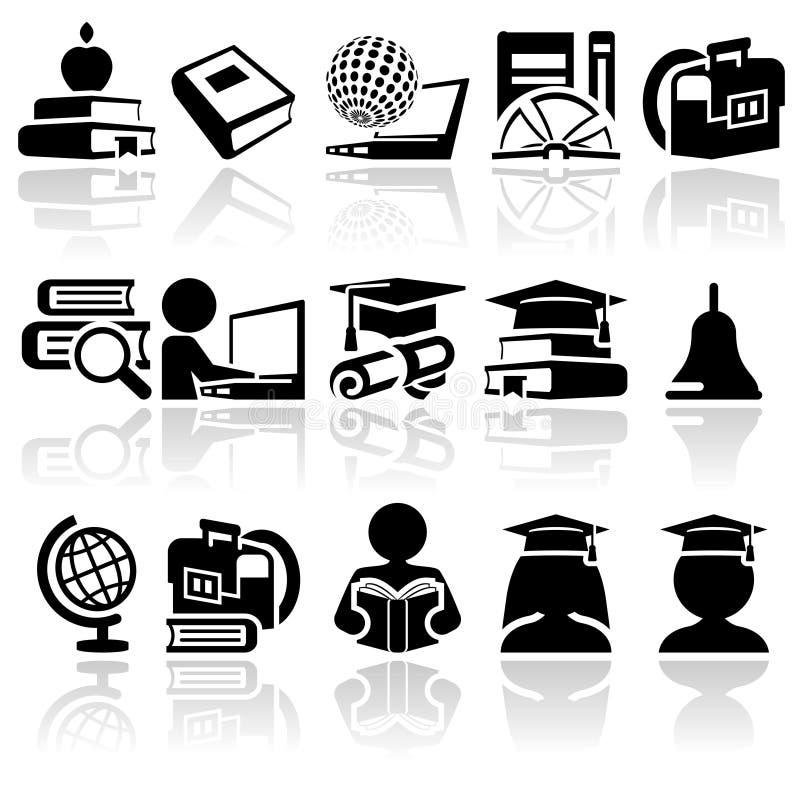 Insieme dell'icona di vettore della scuola illustrazione di stock