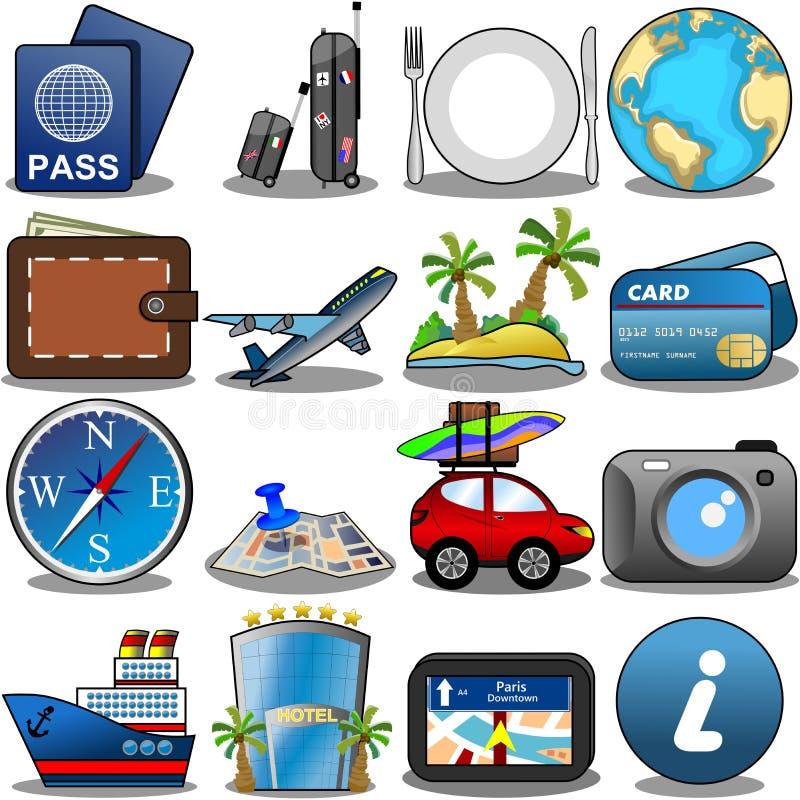 Insieme dell'icona di viaggio royalty illustrazione gratis