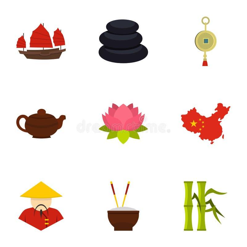 Insieme dell'icona di viaggio della Cina, stile piano illustrazione vettoriale