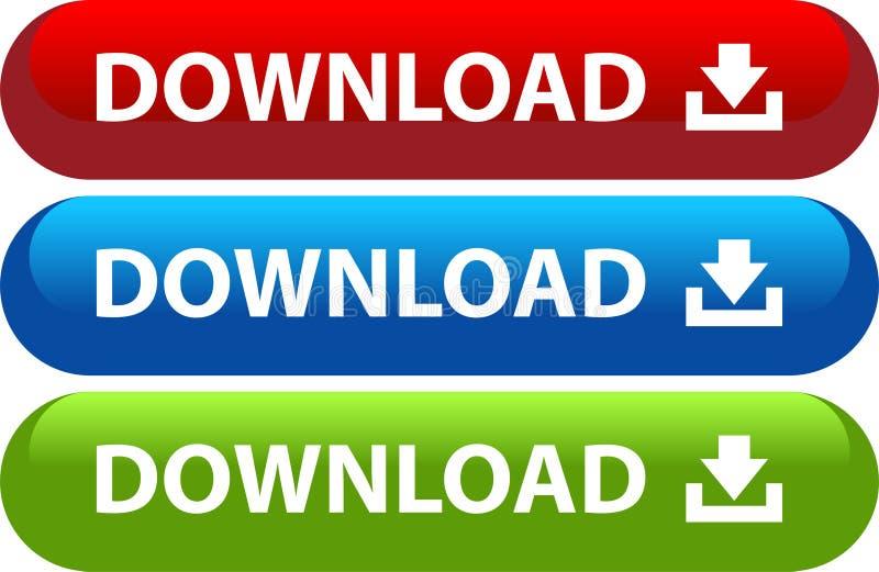 Insieme dell'icona di web del bottone di download illustrazione di stock
