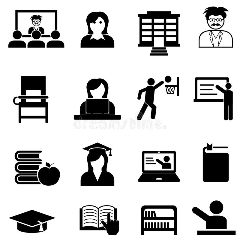 Insieme dell'icona di web dell'università e dell'istituto universitario illustrazione di stock