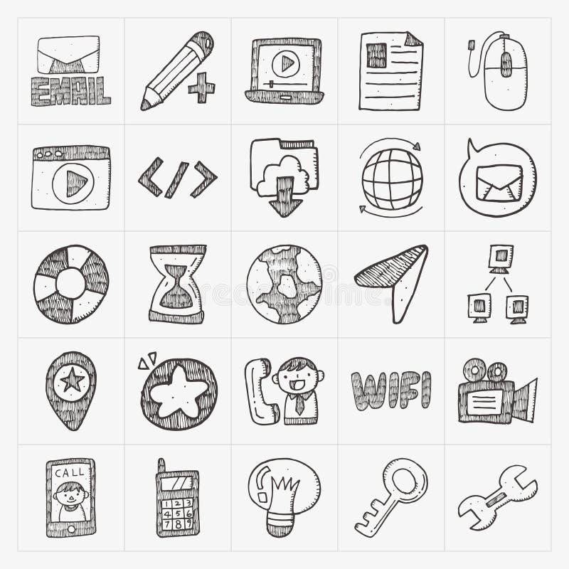 Insieme dell'icona di web di Internet di scarabocchio illustrazione vettoriale