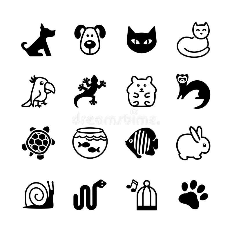 Insieme dell'icona di web. Negozio di animali, tipi di animali domestici. royalty illustrazione gratis