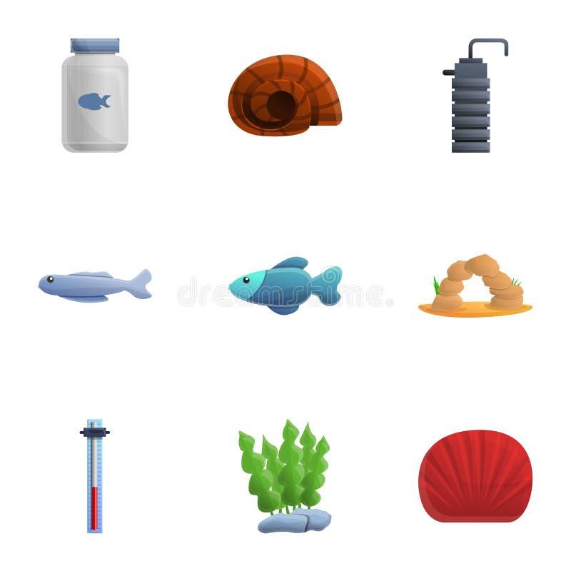 Insieme dell'icona dell'elemento dell'acquario, stile del fumetto royalty illustrazione gratis