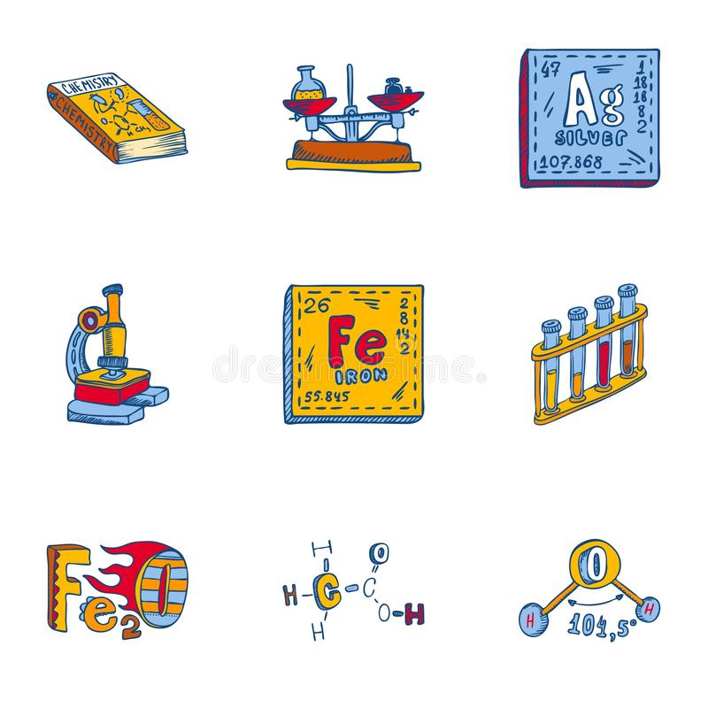 Insieme dell'icona dell'elemento di chimica, stile disegnato a mano royalty illustrazione gratis