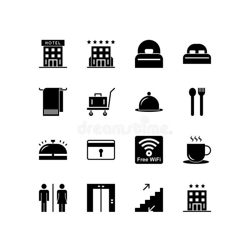 Insieme dell'icona dell'hotel vettore solido nero dell'illustrazione isolato su fondo bianco royalty illustrazione gratis