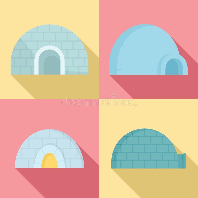 Insieme dell'icona dell'iglù, stile piano royalty illustrazione gratis