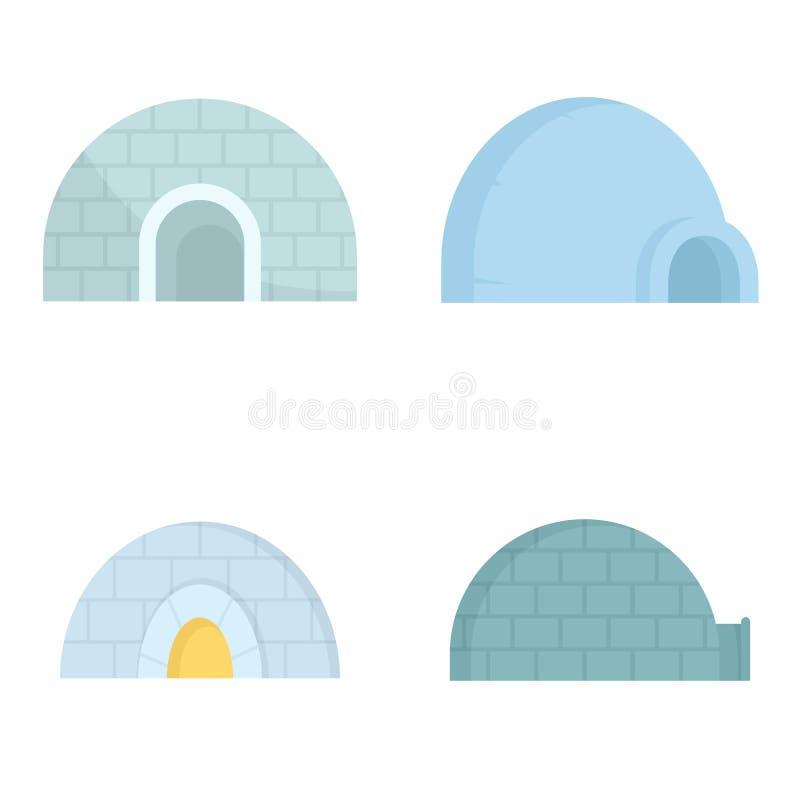 Insieme dell'icona dell'iglù, stile piano illustrazione di stock