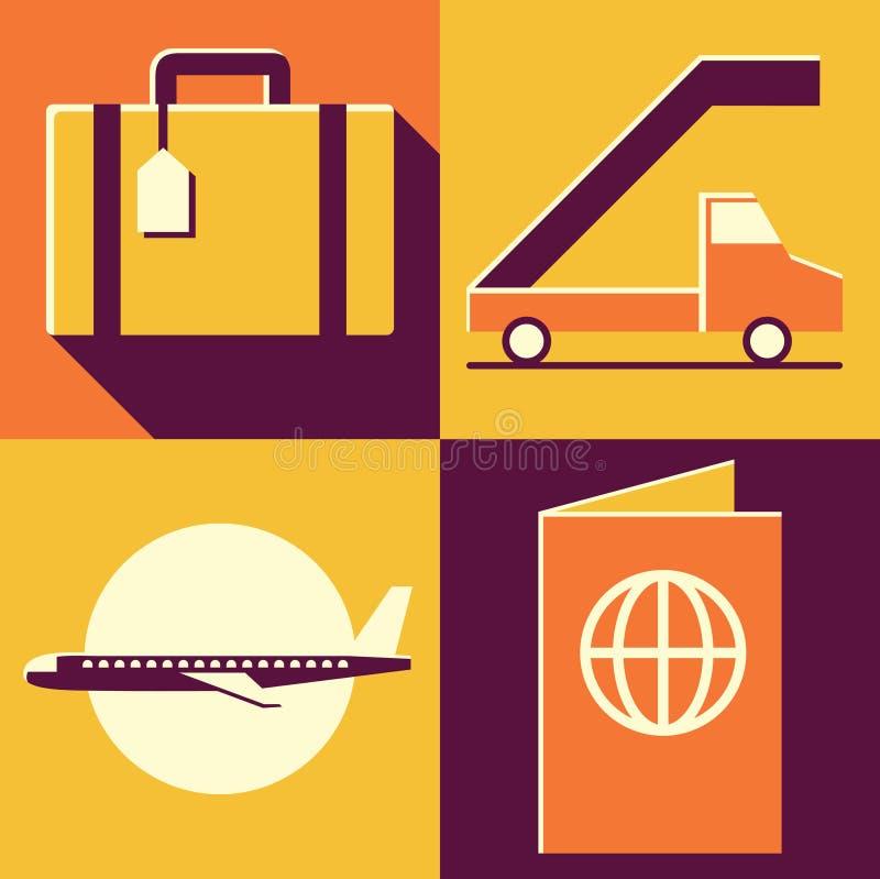 Insieme dell'icona dell'illustrazione di vettore dell'aeroporto: bagagli, automobile, aereo, passaporto royalty illustrazione gratis