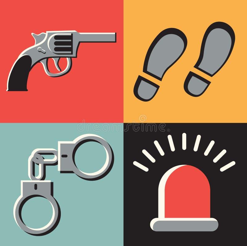 Insieme dell'icona dell'illustrazione di vettore del crimine: pistola, piste, manette, segnale royalty illustrazione gratis