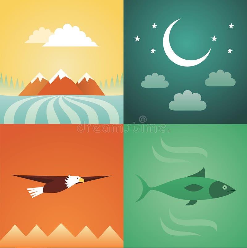 Insieme dell'icona dell'illustrazione di vettore della natura: montagna, mezzaluna, aquila, pesce illustrazione vettoriale