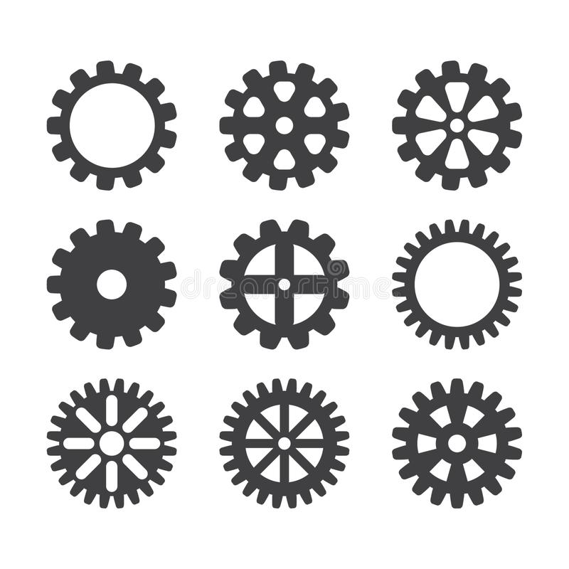 Insieme dell'icona dell'ingranaggio Vector le ruote e gli ingranaggi del dente della trasmissione isolati su fondo bianco royalty illustrazione gratis