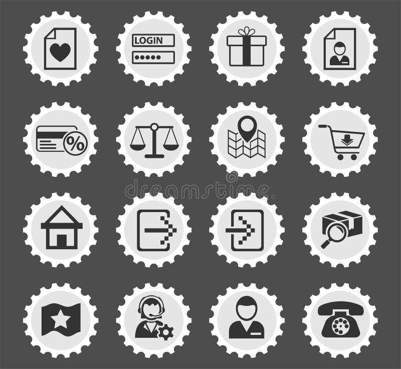 Insieme dell'icona dell'interfaccia di commercio elettronico illustrazione vettoriale