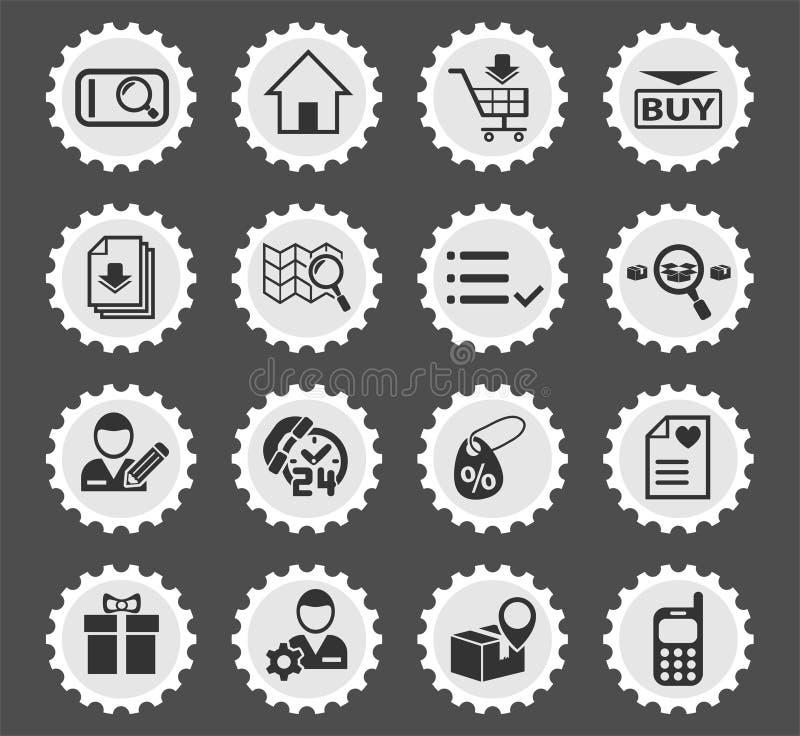 Insieme dell'icona dell'interfaccia di commercio elettronico illustrazione di stock