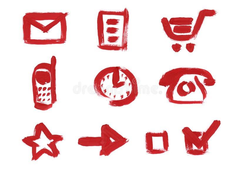 Insieme dell'icona. Posta, carrello, orologio, telefono royalty illustrazione gratis