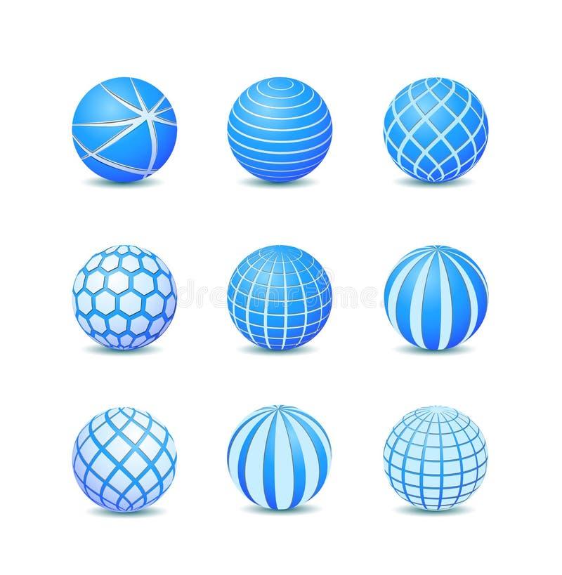 Insieme dell'icona rotonda astratta blu della sfera della banda royalty illustrazione gratis