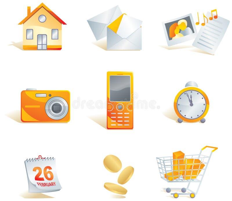 Insieme dell'icona. Web, commercio, media illustrazione vettoriale