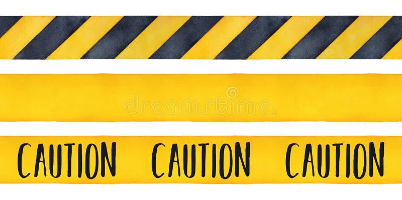 Insieme dell'illustrazione dell'acquerello dei nastri di cautela illustrazione di stock