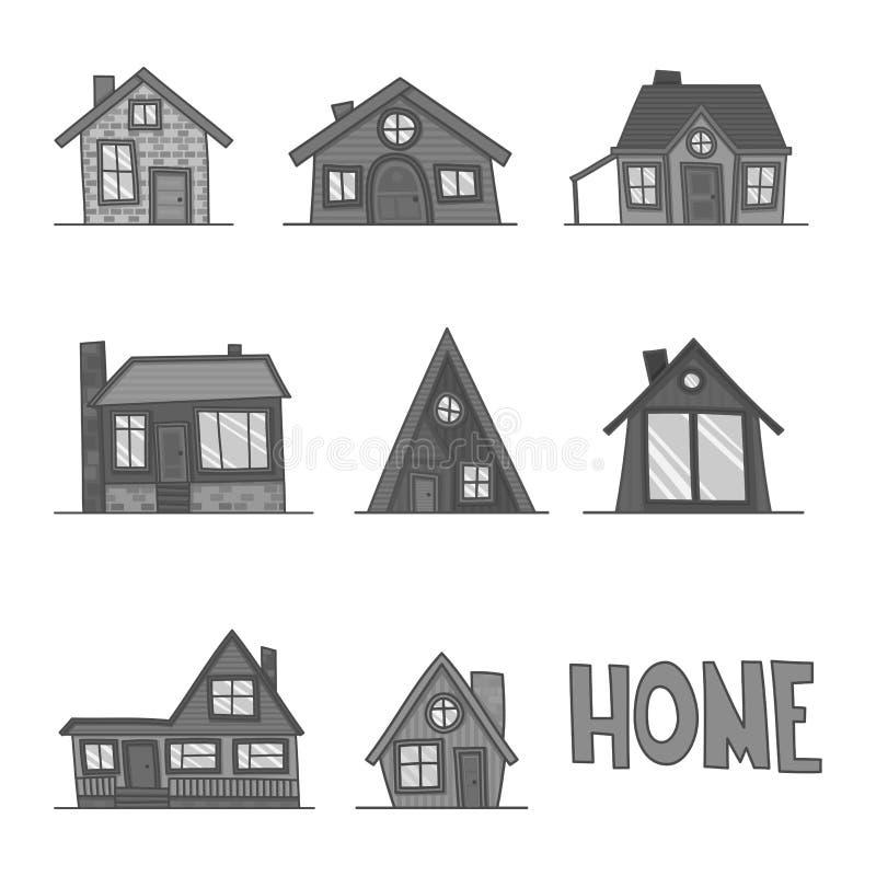 Insieme dell'illustrazione in bianco e nero di vettore dell'icona dettagliata fresca della casa isolata su fondo bianco illustrazione vettoriale
