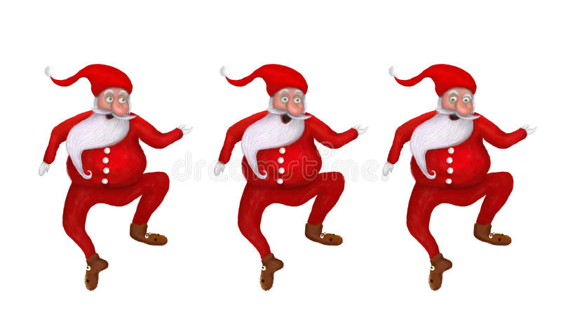 Insieme dell'illustrazione del fumetto dei tre Natali divertente Santa Clauses fotografia stock