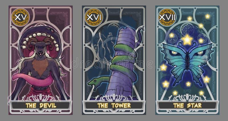 Insieme dell'illustrazione della carta di tarocchi royalty illustrazione gratis