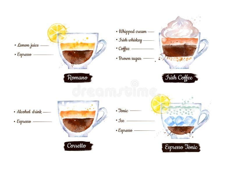 Insieme dell'illustrazione delle ricette del caffè dell'alcool e dell'agrume illustrazione di stock