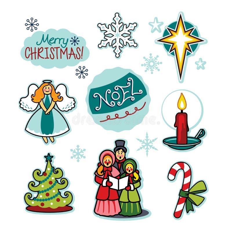 Insieme dell'illustrazione di acclamazione di festa dei carolers di Natale illustrazione vettoriale