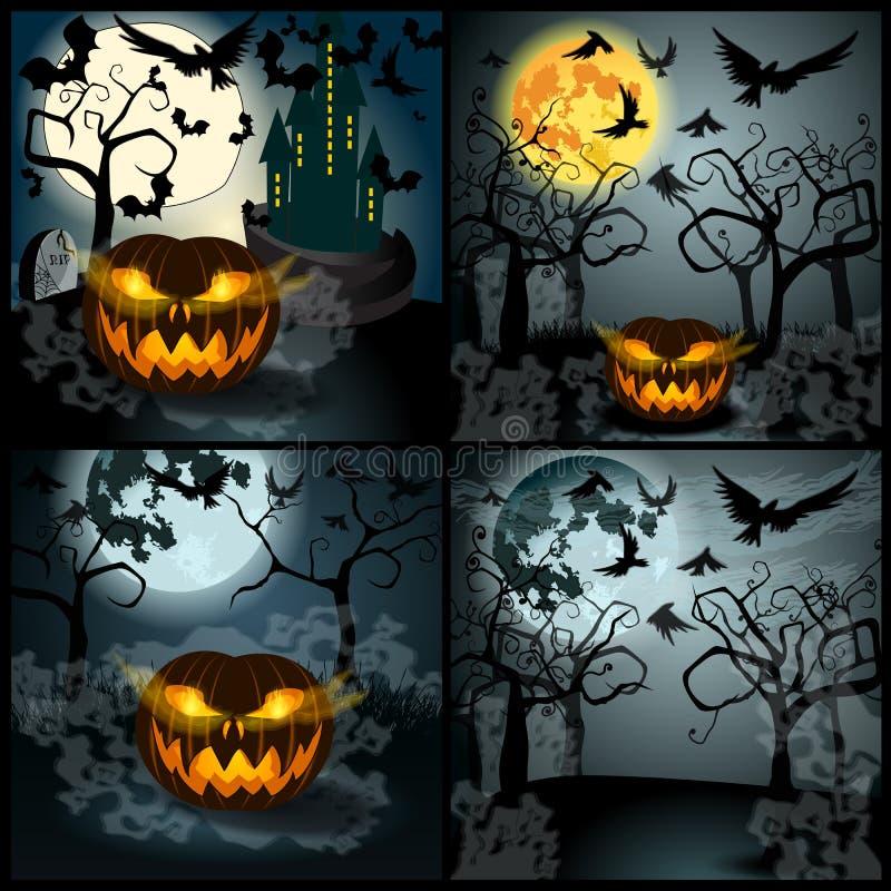 Insieme dell'illustrazione di Halloween con Jack O'Lantern illustrazione di stock