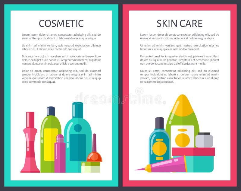 Insieme dell'illustrazione di vettore di cura di pelle e del cosmetico illustrazione di stock