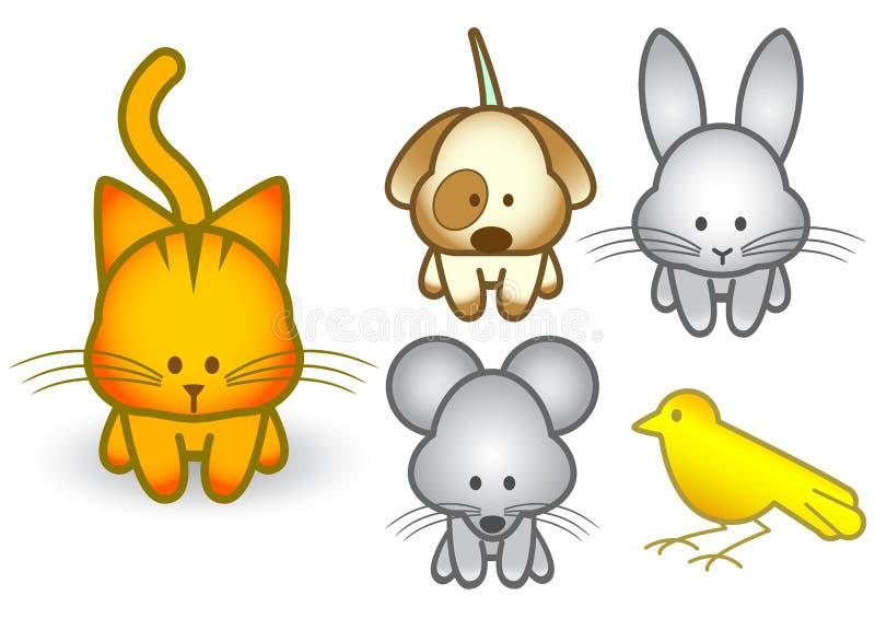 Insieme dell'illustrazione di vettore degli animali domestici del fumetto royalty illustrazione gratis