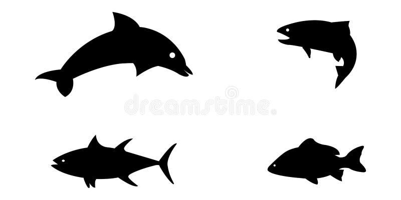 Insieme dell'illustrazione di vettore degli animali di mare silloetted royalty illustrazione gratis