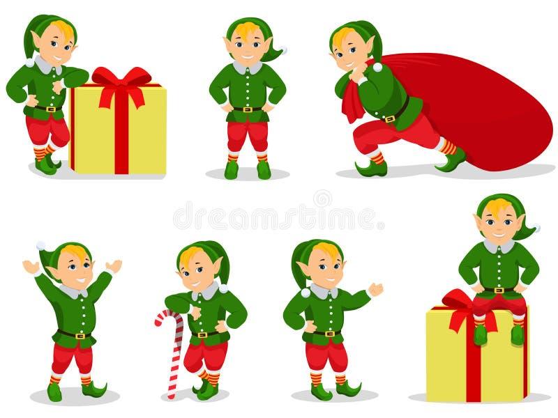 Insieme dell'illustrazione di vettore degli elfi di Natale del fumetto royalty illustrazione gratis