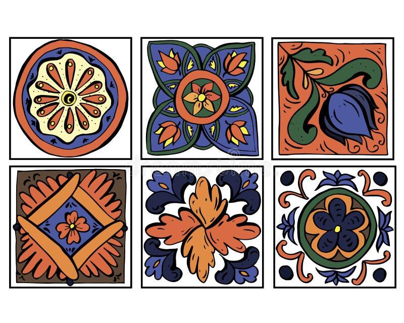 Insieme dell'illustrazione di vettore degli scarabocchi siciliani degli ornamenti delle terraglie nei colori arancio e blu isolat royalty illustrazione gratis