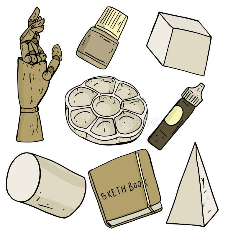 Insieme dell'illustrazione di vettore degli strumenti assortiti dell'artista nel colore grigio e marrone caldo morbido, tavolozza illustrazione di stock