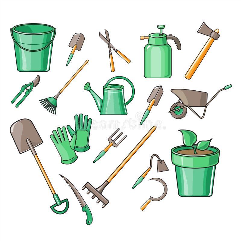 Insieme dell'illustrazione di vettore degli strumenti di giardinaggio royalty illustrazione gratis