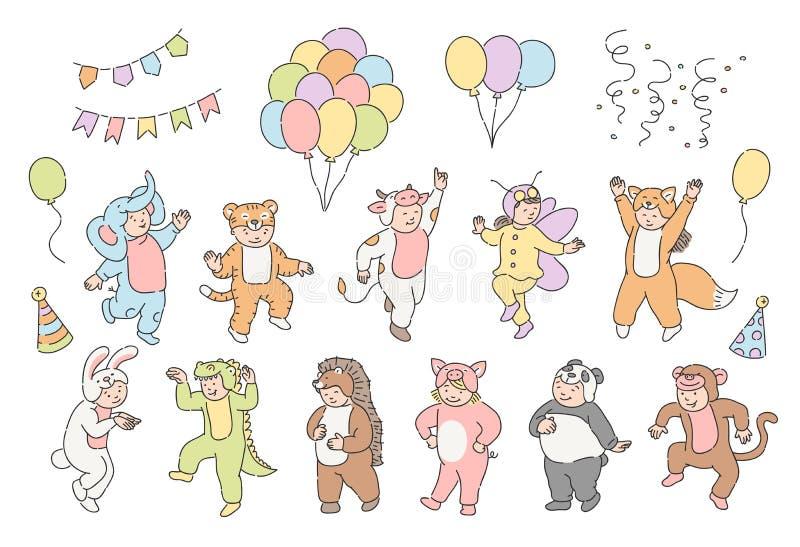 Insieme dell'illustrazione di vettore dei bambini svegli in vestiti animali festivi con le mongolfiere, i cappelli del cono del p illustrazione di stock
