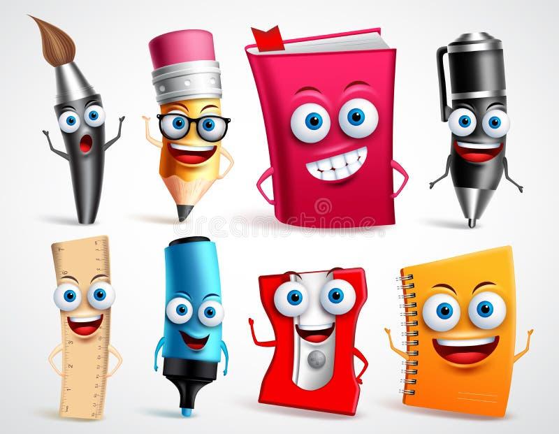 Insieme dell'illustrazione di vettore dei caratteri della scuola Mascotte del fumetto degli oggetti 3D di istruzione illustrazione vettoriale