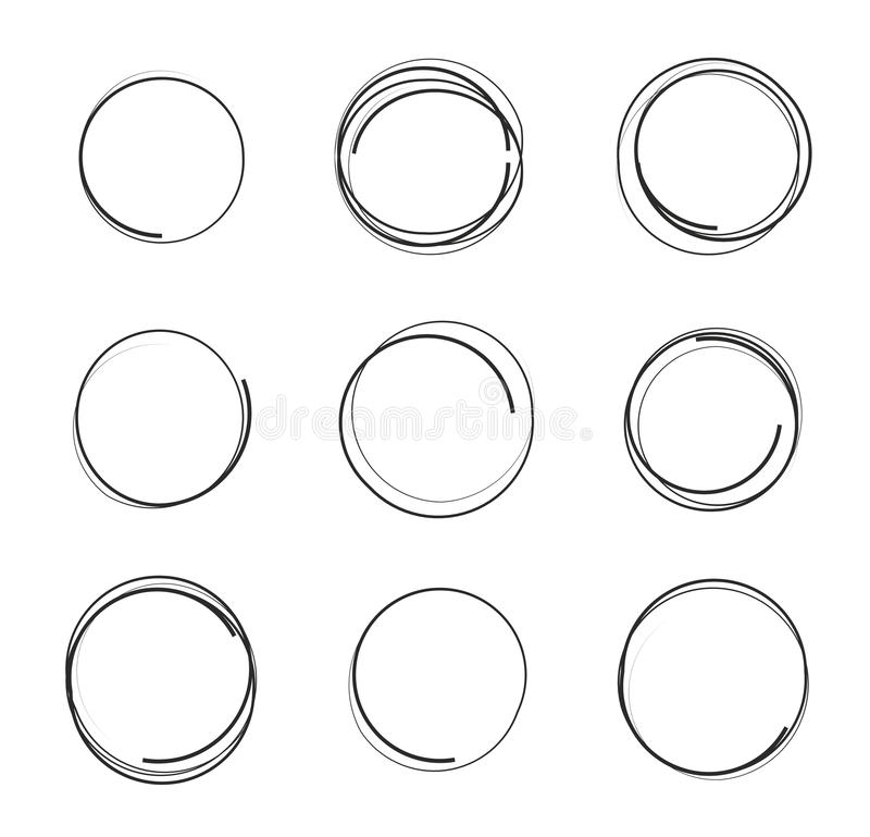 Insieme dell'illustrazione di vettore dei cerchi disegnati a mano isolati su fondo bianco, elementi dello scarabocchio di progett illustrazione vettoriale