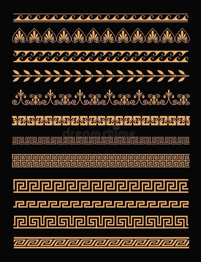 Insieme dell'illustrazione di vettore dei confini greci antichi e degli ornamenti senza cuciture nel colore dorato su fondo nero  illustrazione di stock