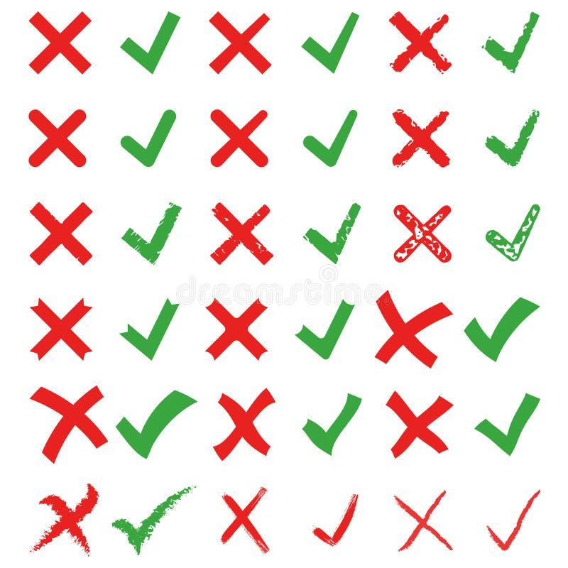 Insieme dell'illustrazione di vettore del segno di spunta di verde e della croce rossa Segni la X e la V illustrazione di stock