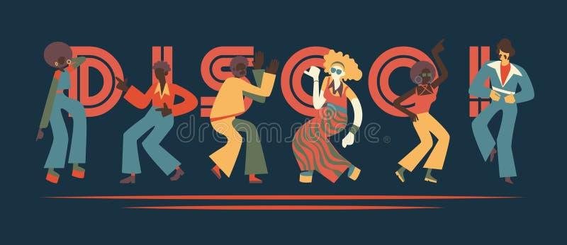 Insieme dell'illustrazione di vettore della gente ballante della discoteca con i retro vestiti e acconciature illustrazione di stock