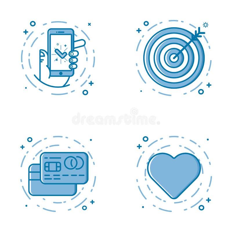Insieme dell'illustrazione di vettore della linea audace piana icone con la stella - segno favorito, schermo - sicurezza di web,  royalty illustrazione gratis