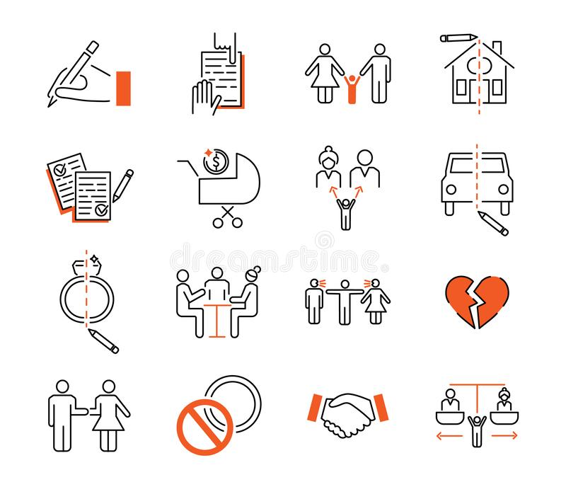 Insieme dell'illustrazione di vettore della raccolta dell'icona del profilo di mediazione di divorzio royalty illustrazione gratis
