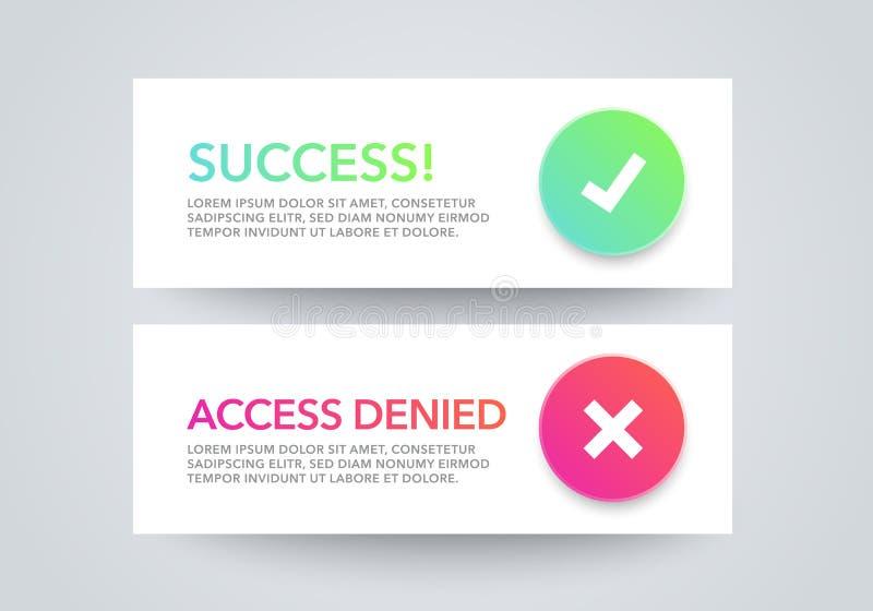 Insieme dell'illustrazione di vettore delle finestre di messaggio di notifica di dialogo dell'interfaccia - il successo, accesso  illustrazione vettoriale
