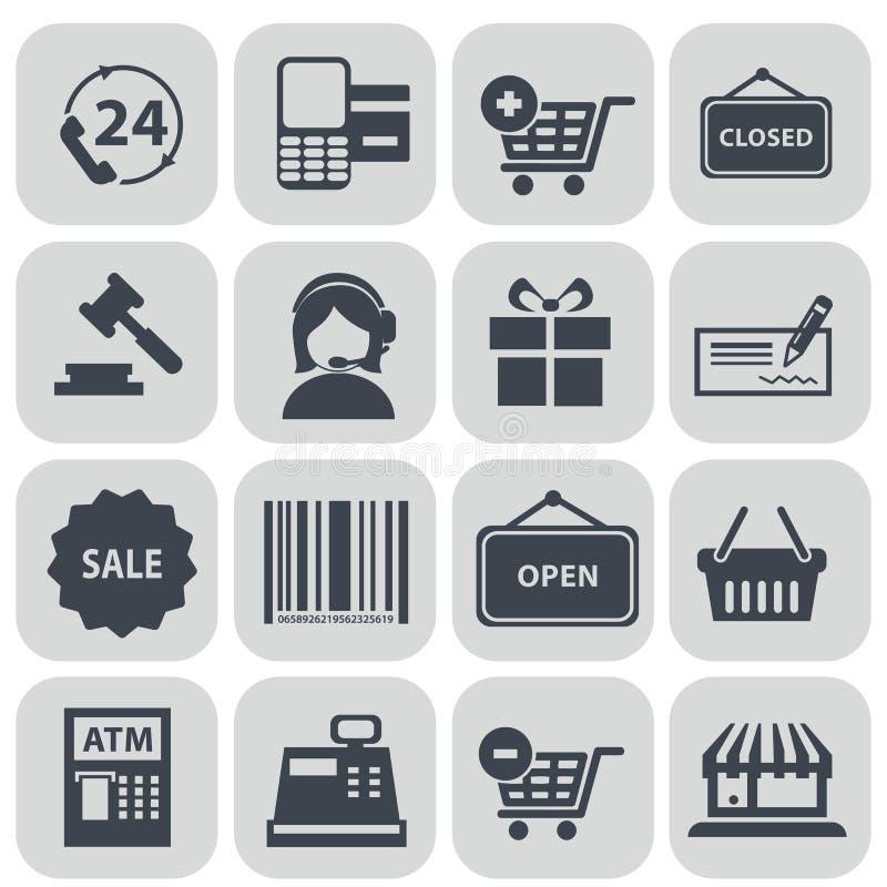 Insieme dell'illustrazione di vettore delle icone di acquisto illustrazione vettoriale