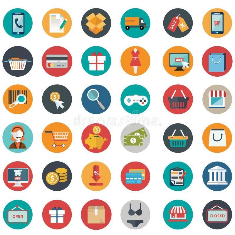 Insieme dell'illustrazione di vettore delle icone di acquisto, oggetti di acquisto illustrazione di stock