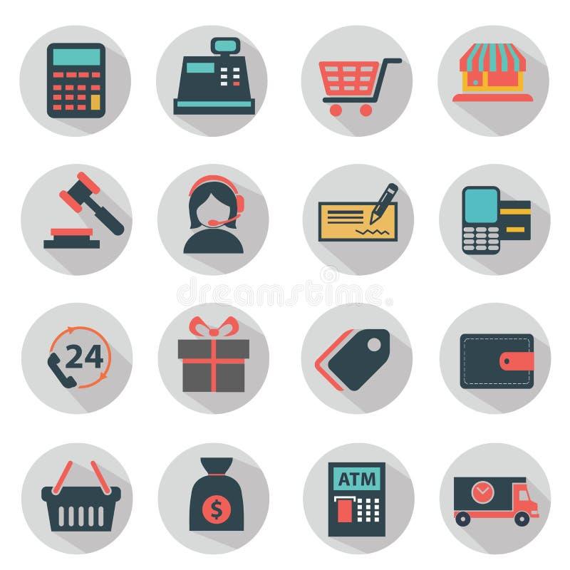 Insieme dell'illustrazione di vettore delle icone di acquisto, oggetti di acquisto royalty illustrazione gratis