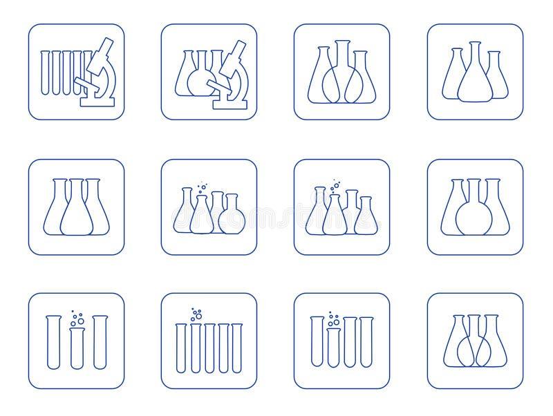 Insieme dell'illustrazione di vettore delle icone chimiche del laboratorio illustrazione di stock