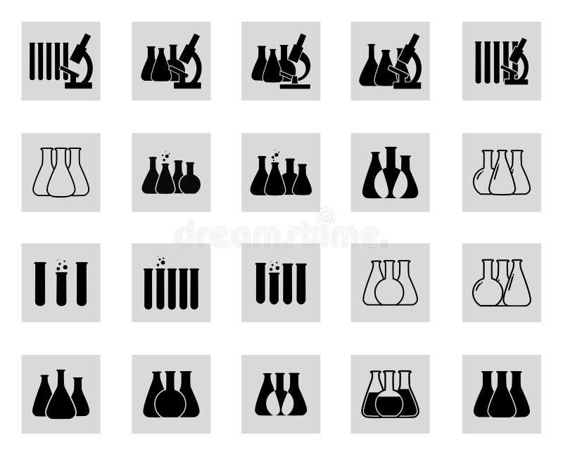 Insieme dell'illustrazione di vettore delle icone chimiche del laboratorio illustrazione vettoriale